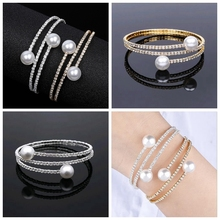 Elegant Pearl Multilayer Crystal Bracelet For Women Shining Boho Adjustable Size Open Cuff Bangles Fashion Jewelry stylish multilayer faux pearl round lace bracelet for women