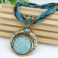2017 Fashion Handmade Colorful Bohemia Opal Crystal Round Stone Beads Rope Turquoise Pendant Necklace Wholesale