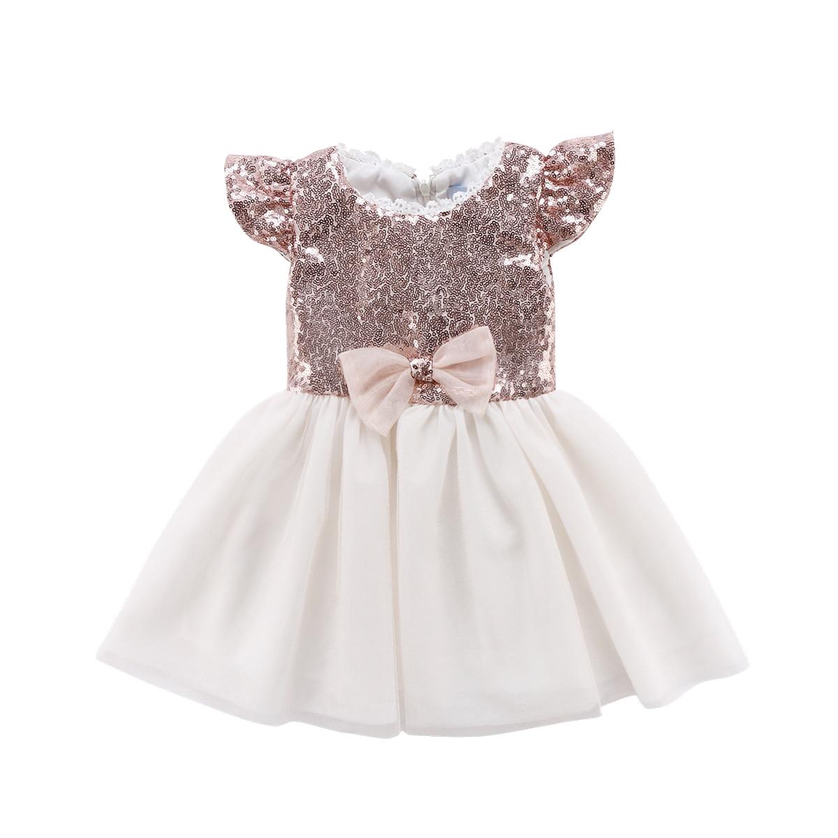 Для малышей Детская одежда для девочек праздничное платье принцессы Тюль Блестки Луки Pageant пачка кружева светло-розовый платья От 1 до 6 лет