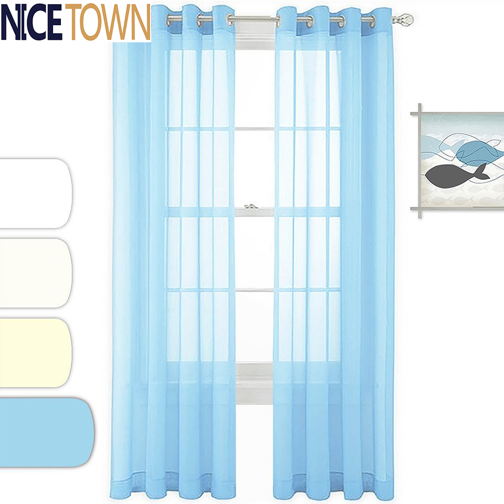 Ready Made Window Treatment Pair Of Solid Color Sleek Voile Curtains Soft Sheer Drapes For Living