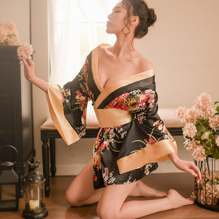 Japanese Styles Sexy Nightgown Lingerie Satin Patchwork Nightdress Women Silk Kimono Belt Bath Robe Nightwear Sleepwear Chemises