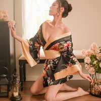 Style japonais Sexy chemise de nuit Lingerie Satin Patchwork chemise de nuit femmes soie Kimono ceinture Robe de bain vêtements de nuit Chemises