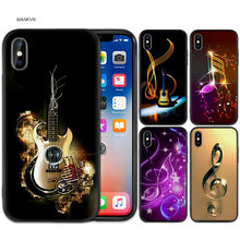 Black Rubber Soft Silicone Case Bag Cover for iPhone XS XR X 7 8 6 6S 5C 5E 5S 5 Plus Max Shell Fundas love Old Music Score Musi(China)