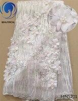 Beautifical Blanc 3D Fleur dentelle tissu africaine de mariée tulle dentelle perlée tissu avec broderie pour vêtements de mariage 5 mètres 34N52