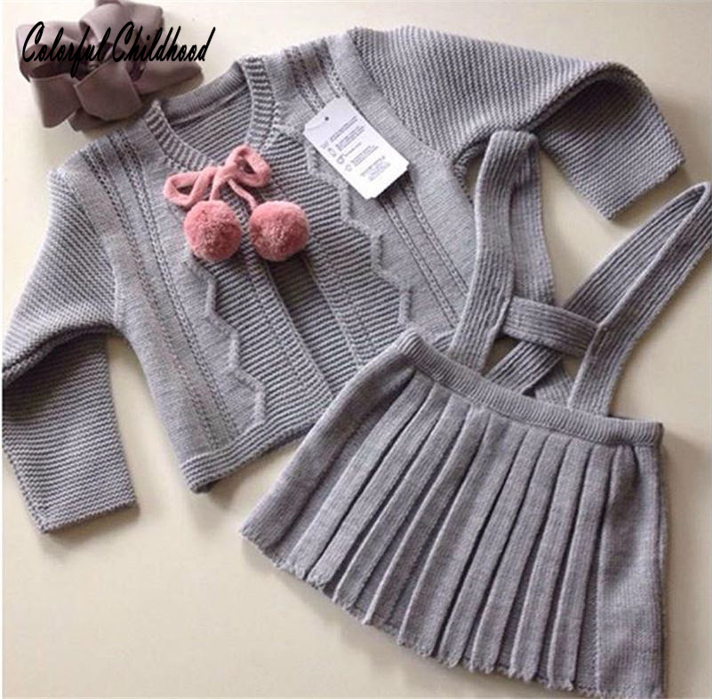 England style baby clothing set Fur Ball Bow Design Cardigan kids girls pleated skirt 2pcs set toddler baby girls clothes 1-6t