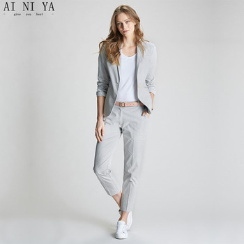 New female elegant pant suits OL formal work wear women's long sleeve blazer with Trousers office business suit light gray