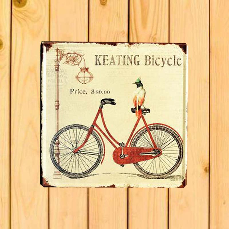 Bicycle Retro Iron Art Bar Cafe Wall Decor tin Plate Square Wall ...