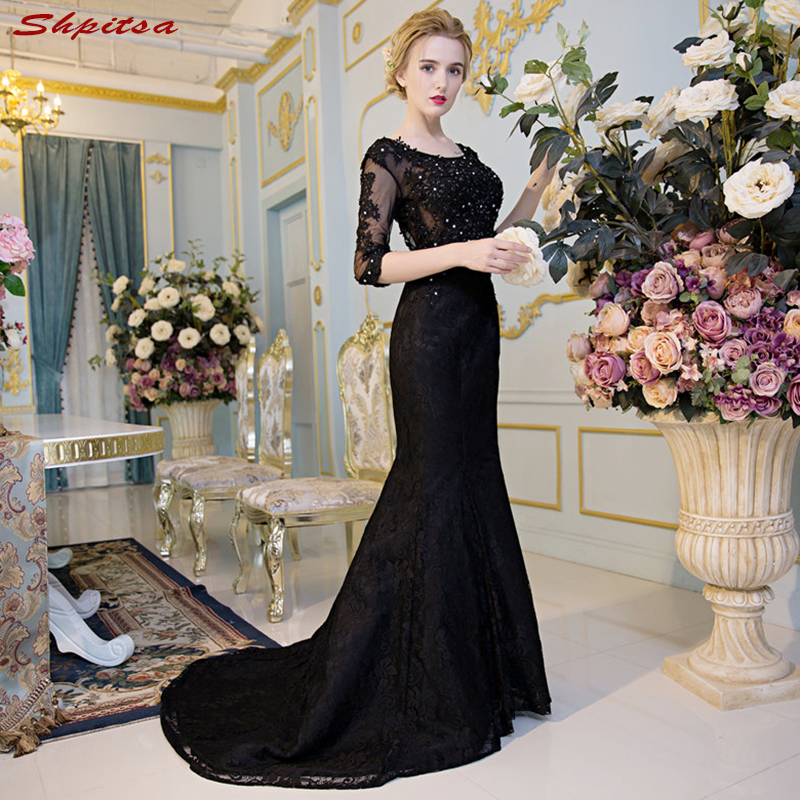 Black Mermaid Mother Of The Bride Dresses For Weddings Beaded Lace Evening Groom Godmother Dresses