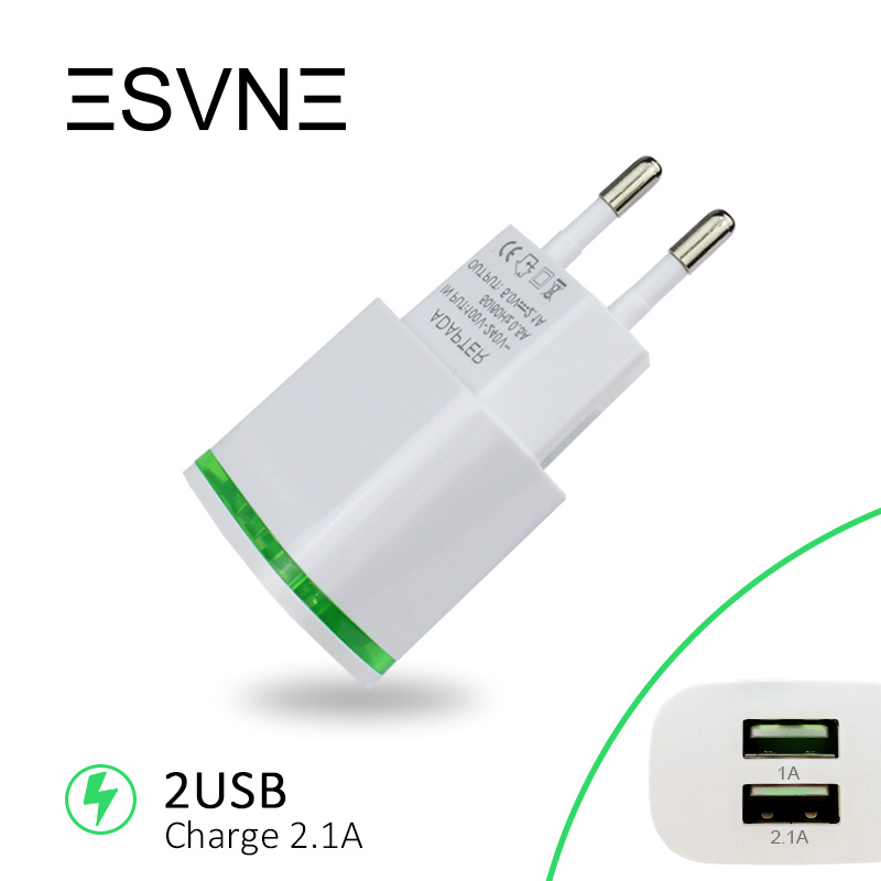 ESVNE 2 USB Charger 5V 2.1A EU Plug Adapter Wall Fast Mobile Phone Charger for iPhone 5 6 7 iPad Tablet Samsung Xiaomi Charging