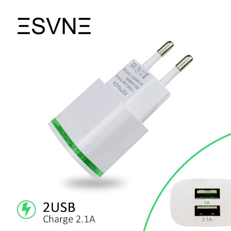 ESVNE 2 USB Charger 5V 2.1A EU Plug USB Adapter Mobs