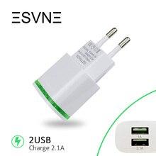 ESVNE 2 USB зарядка Устройство 5 V 2.1A ЕС Подключите USB Адаптер Мобильного Телефона зарядное Устройство Для айфон 7 5 6  iPad Tablet Samsung HUAWEI Зарядки