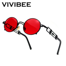 VIVIBEE Punk Oval Red Sunglasses Men Metal Black Frame Hip Hop for Women Vintage Small Sun Glasses 90s Steampunk Accessories