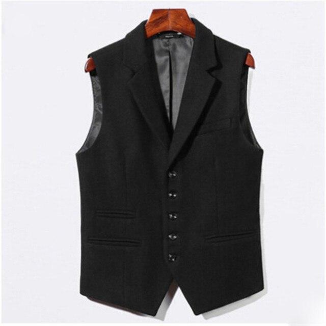 England Style Men Autumn Casual Blazer Vest Black Solid Color Business Men Suit Vests Wool And Cotton Men'S Waistcoats A2675