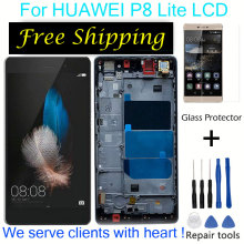 For HUAWEI P8 Lite ALE-L21 P8 LITE L04 LCD with frame for HUAWEI P8 Lite LCD Display touch screen digitizer Assembly replacement p8