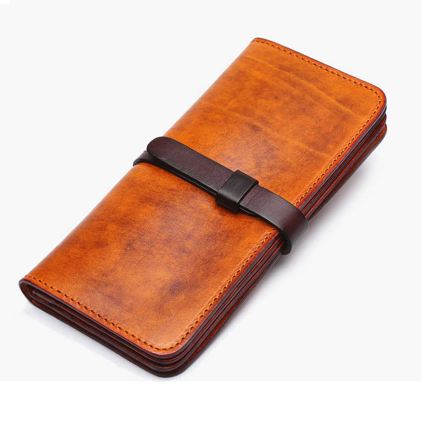 Luxury Handmade Men Genuine Leather Wallet Men Purse Leather Long Wallet Clutch Bag Male purse Money bag