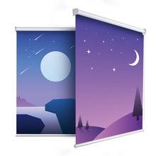Casaya-estor enrollable romántico de Luna dibujada, cortinas personalizadas con estampado de dibujos animados, para la habitación de los niños