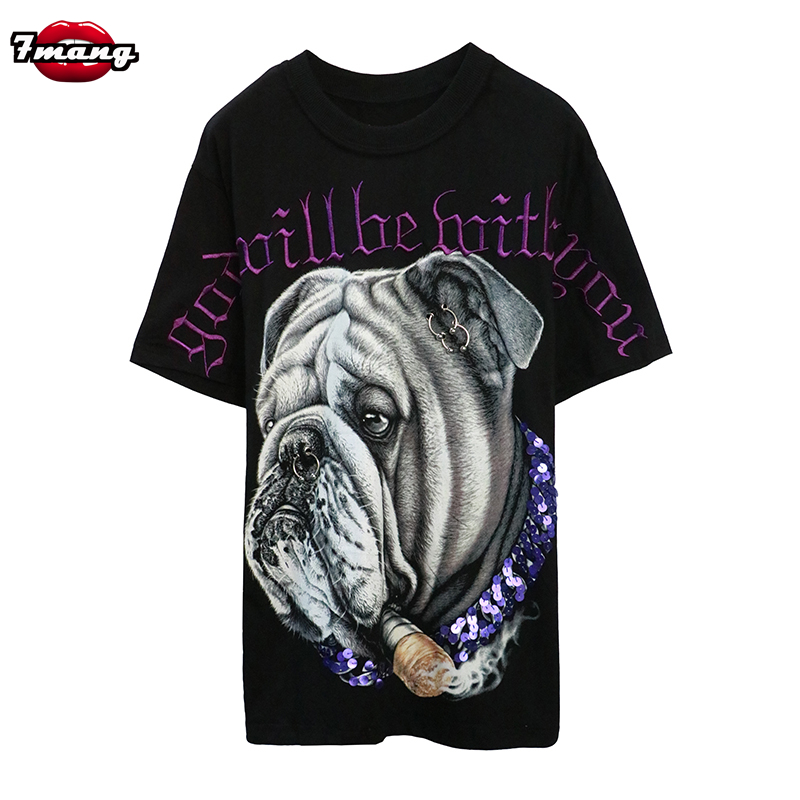 7mang 2018 summer women fashion long street dog printing sequins t shirt party heavy loose purple t shirt