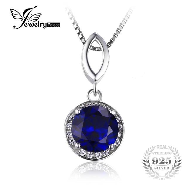 Jewelrypalace rodada cortar 2.5ct azul criado sapphire colar pingente de halo sólido 925 sterling silver 45 cm cadeia fine jewelry