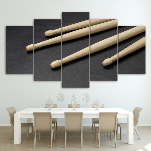 Modern Hd Printed Wall Art Frame Canvas Pictures Modular 5 Panel Wooden Drum Sticks Paintings Posters Cuadros Home Decor Pengda
