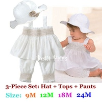 4sets Lot Wholesale White Kids Clothes Sets Infantis For Girls T Shirt Pant Hat Baby Suit