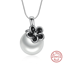 925 Sterling Silver Mystic Floral Pendant Necklace, White Pearl Necklaces & Pendants Colares Fine Jewelry