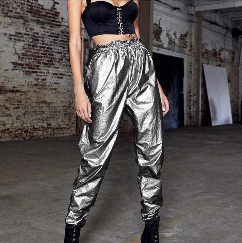 Hip Hop Glitter Joggers Women Plastic Elastic Ruffles High Waist   Pants     Capris   Streetwear Silver Sweatpants Summer