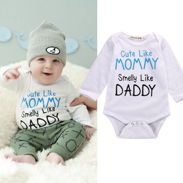 0cf171226b15 Mommy Daddy Print Newborn Toddler Baby Boy Girl Bodysuits Cotton ...