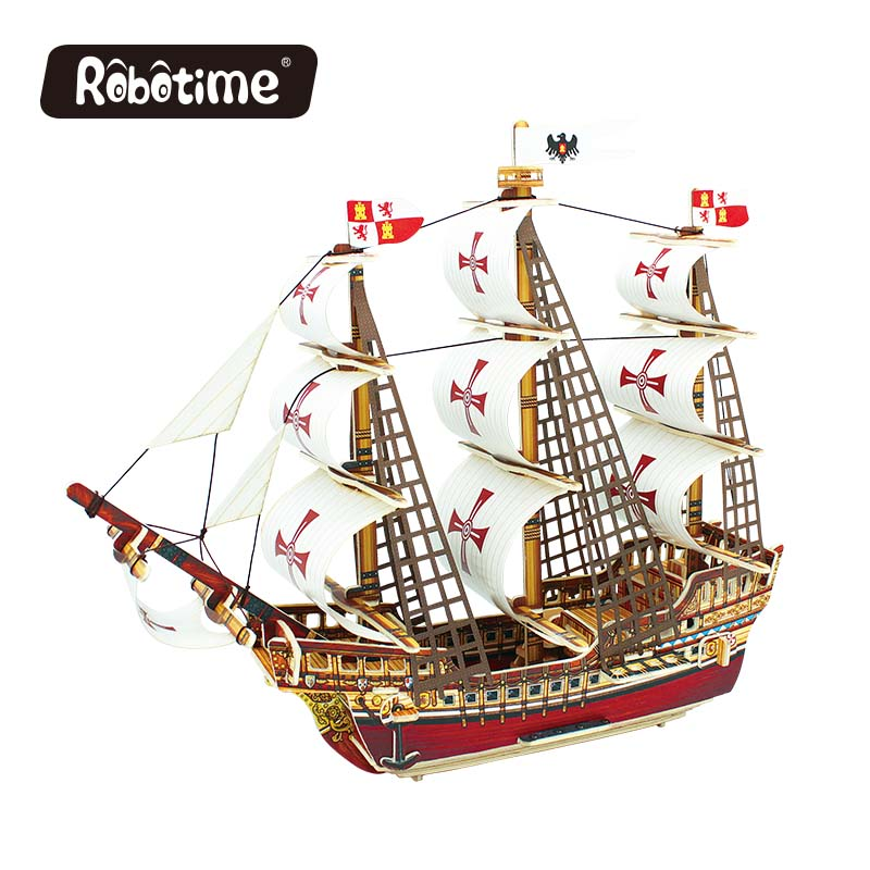Robotime 3D wooden Puzzle DIY model Building kits Educational diecasts & toy vehicles for Chidren boat ship gifts BA502 ds381b wooden 3d army puzzle toy model anti air vehicles diy assemble toys boys free shipping usa brazil