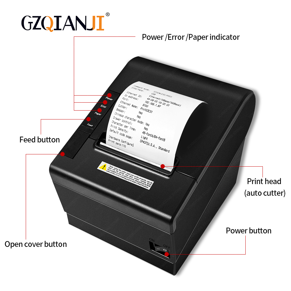 80mm Thermal Receipt Printers Bill POS Printer With Auto Cutter For Kitchen USB/Ethernet Port Shop Restaurant