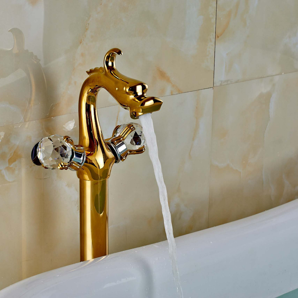 Dragon Type Dual Crystal Handles Bathtub Faucet Golden Mixer Tap Floor Mount Tap