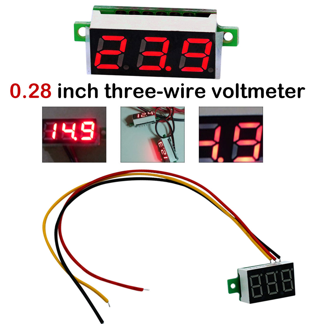 Mini 0.36 Inch DC 0-100v 3 Bits Digital LED Display Panel Voltage Meter Voltmeter Electronic Tester