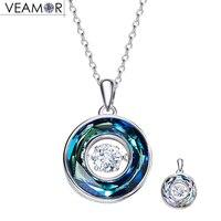 Veamor 925 sterling bạc vòng tròn mặt dây chuyền với phong trào của đá tím/màu xanh crystals vòng vòng cổ cho phụ n