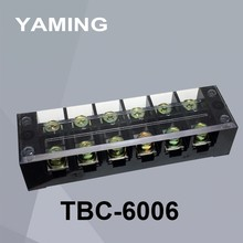 5pcs/lot TBC-6006 TB-606 60A/6P Connection Terminal Block Strip Dual Row screw barrier fixing block ( Copper ) 600v 60a 12p double row barrier block screw terminal strip connector