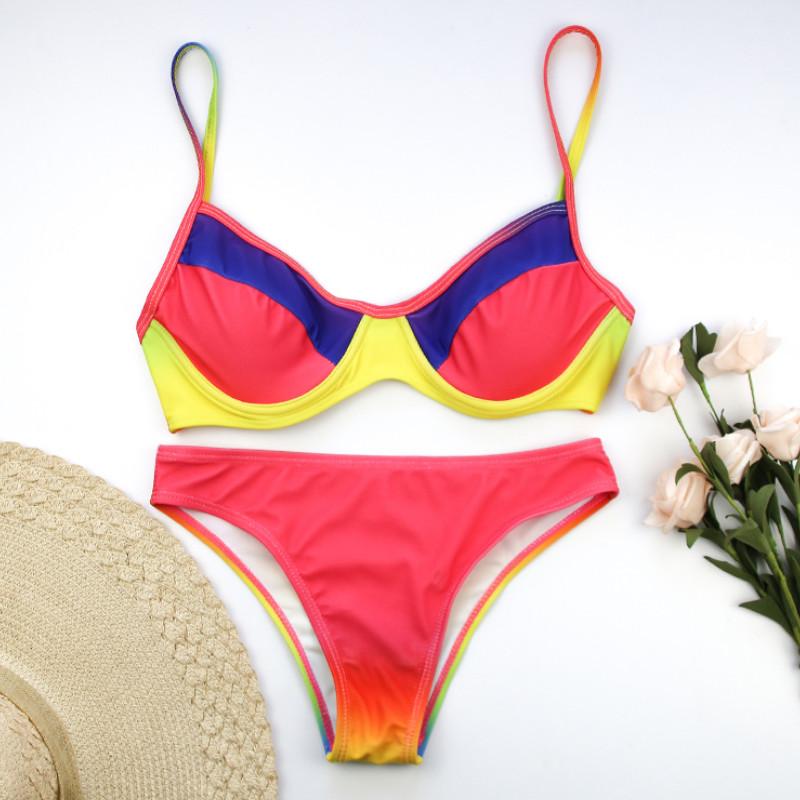2019 Новый женский комплект бикини с принтом пуш-ап бюстгальтер с подкладкой комплект бикини купальный костюм «треугольник» купальный пляж 17