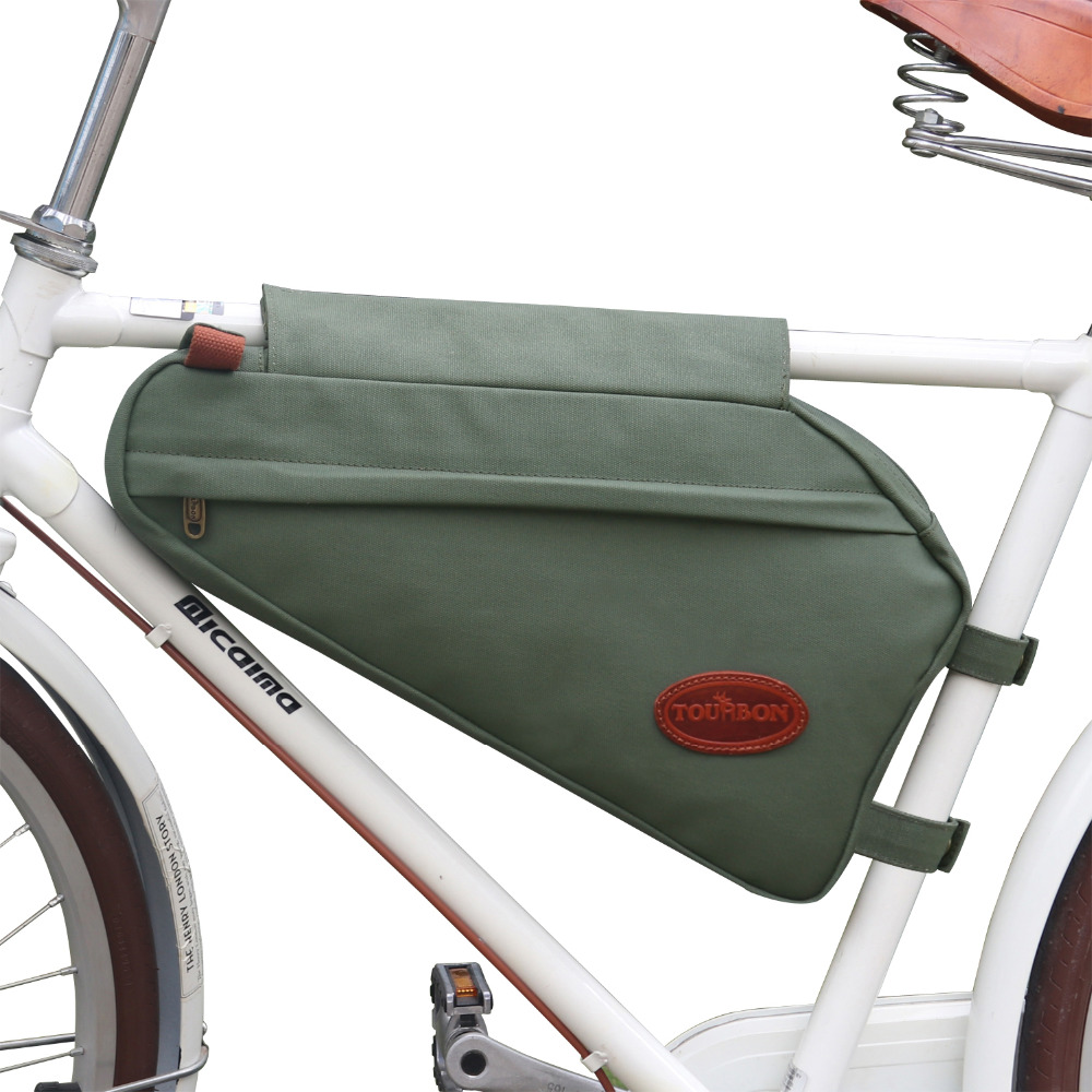 Tourbon Vintage Bike Frame Tube Triangle Bag Bicycle Pouch Backpack Zippered Green Waxed Canvas Waterproof Cycling