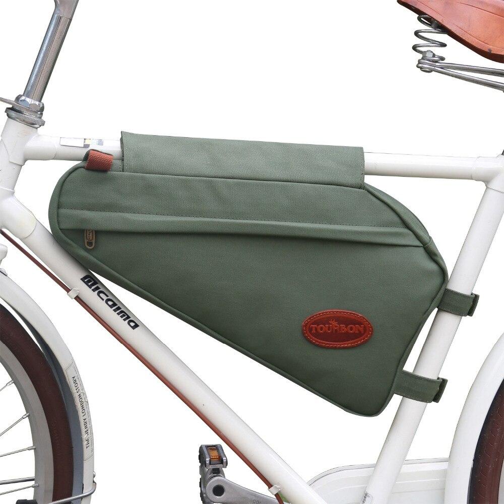 Tourbon Vintage vélo cadre Tube Triangle sac vélo pochette sac à dos zippé vert ciré toile étanche cyclisme accessoires