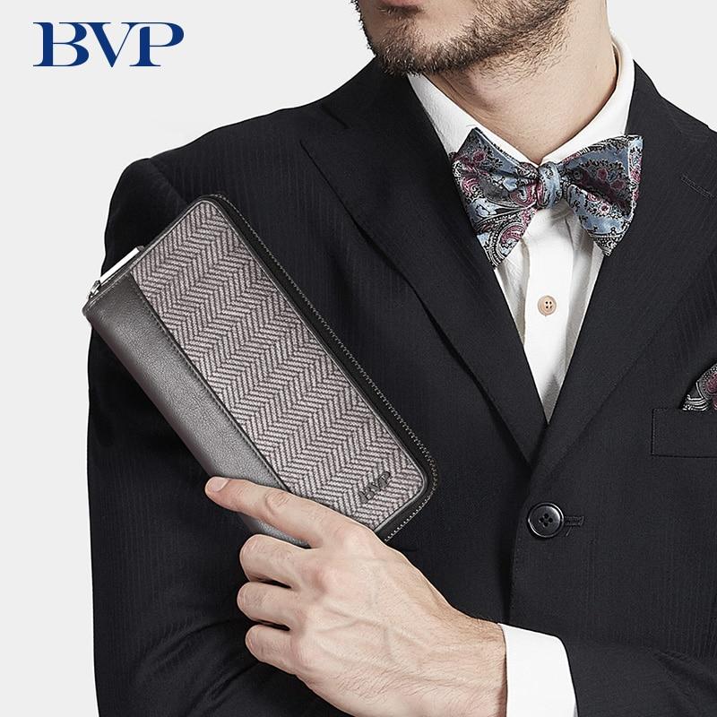 Novo famoso bvp design da marca de alta qualidade zíper homens embreagem carteiras couro genuíno listrado homem negócios zíper longo carteira j50