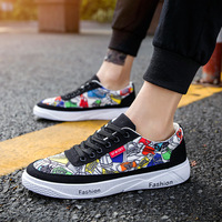 2019 Spring Cartoon Graffiti Casual Men Shoes Men's Canvas Shoes Fashion Sneakers for Men Lace up Sports Shoes for Male