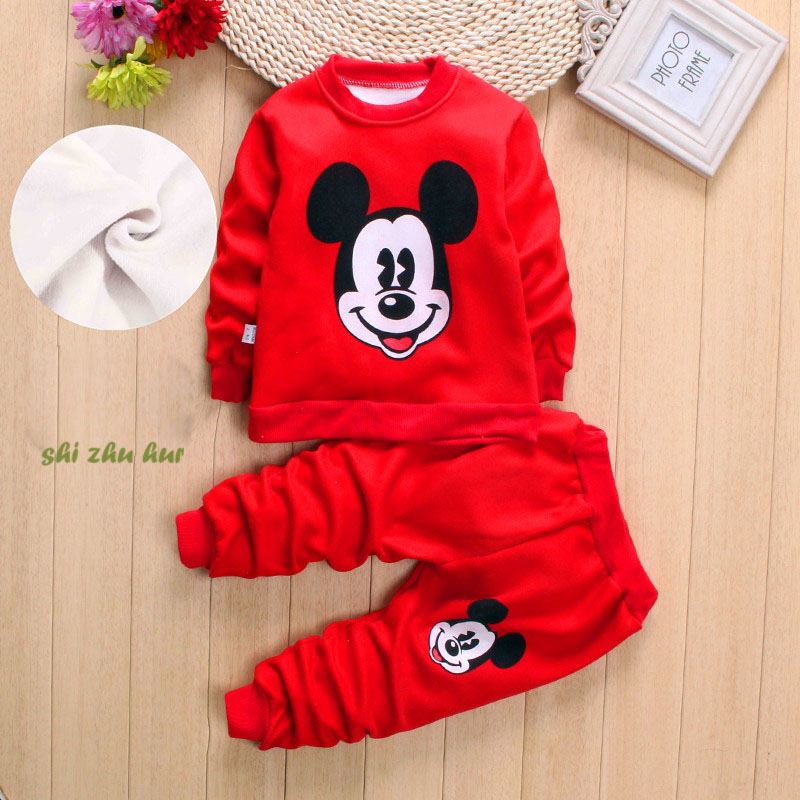 Children Clothing Set 2017 Winter Mickey Minne Cartoon Boys Girls Thickening T shirts Tops And Pants Suit Baby Kids Clothes Sets ad children s mickey thick sets 2 10 age cotton sweater pants boys girls christmas t shirts trousers kids clothing clothes