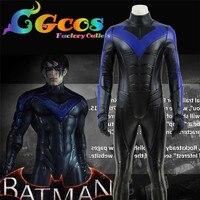 CGCOS Batman Arkham City Nightwing Dick Grayson Halloween Party Fancy Dress man Superhero Carnival Cosplay Costume free shipping