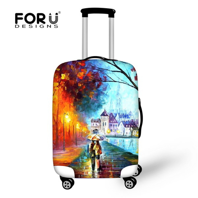 FORUDESIGNS Beautiful Scenery Oil Painting Luggage Cover Elastic Travel Luggage Protective Suitcase Cover For 18-28inch Cases
