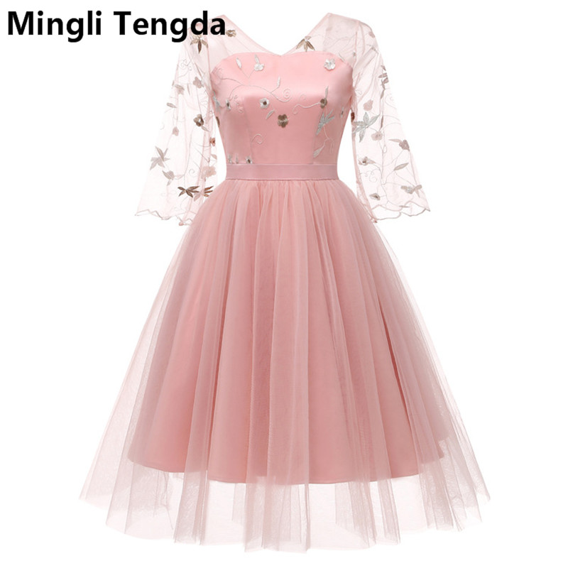 Mingli Tengda 2018 New Pink Lace Elegant Bridesmaid Dress V Neck Dress for Wedding Party vestido para madrinha Ball Gown Dress