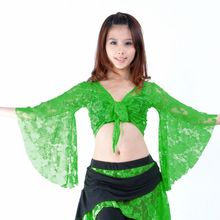 13 Colors Belly Dance Clothes Tops Women Sexy Lace Top Front Cross Crop Halter Deep V Neck Flare Sleeve Top