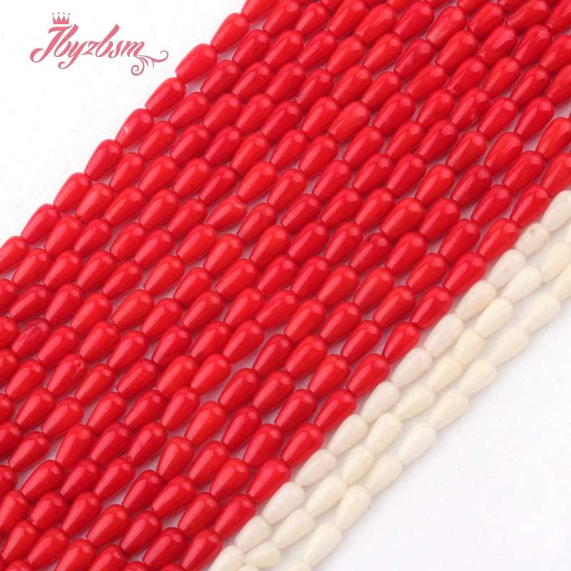 3x5mm Smooth Drop Coral Beads Natural Stone Beads For DIY Necklace Bracelets Eaaring Pandant Jewelry Making 15 Free Shipping