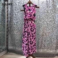 100%Cotton Long Dress 2019 Summer Style Women O Neck Purple Floral Print Sleeveless Long Party Maxi Dress Vestidos Feminino
