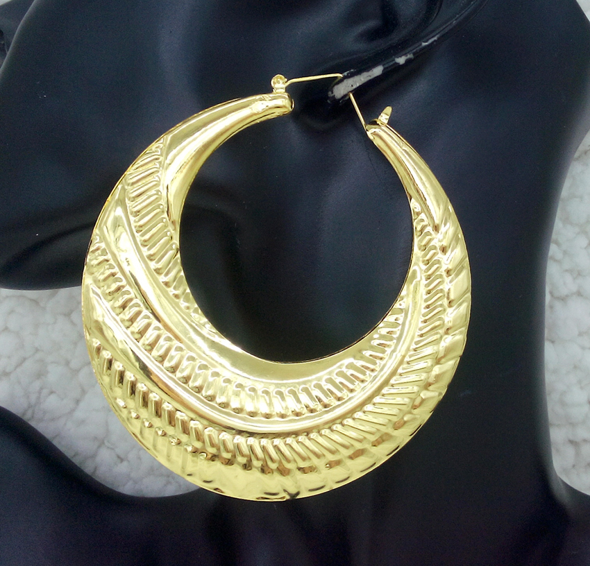 Hip Hop Yellow Gold Color Large Round Bamboo Hoop Earrings For Women Earings Fine Fashion Jewelry Brinco Hoops Earring In From
