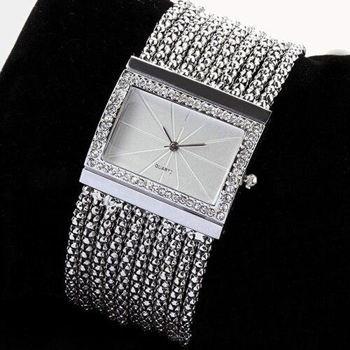 2015 Latest New Fashion Quartz Women s Silver Tone Band Rhinestone Bangle Bracelet Watch 6T4T