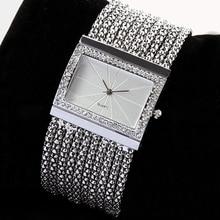 2015 Latest New Fashion Quartz Women's Silver Tone Band Rhinestone Bangle Bracelet Watch 6T4T