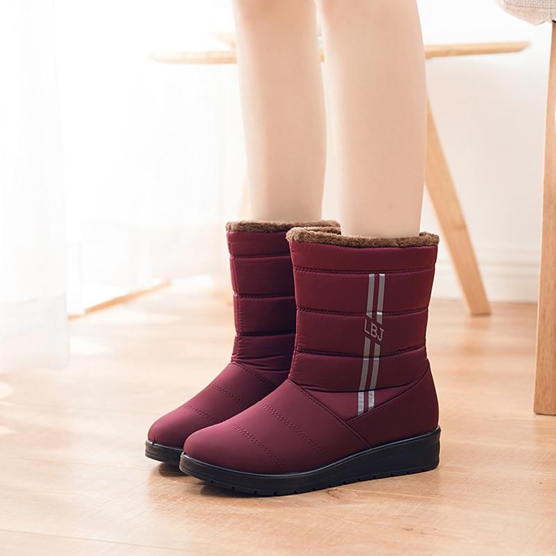 púrpura Caliente Invierno Wsh3142 De Alta Cómoda Las Y Mujeres Luz Casual Felpa Nieve Mujer Negro Botas Becerro Zapatos T8nqWgZR