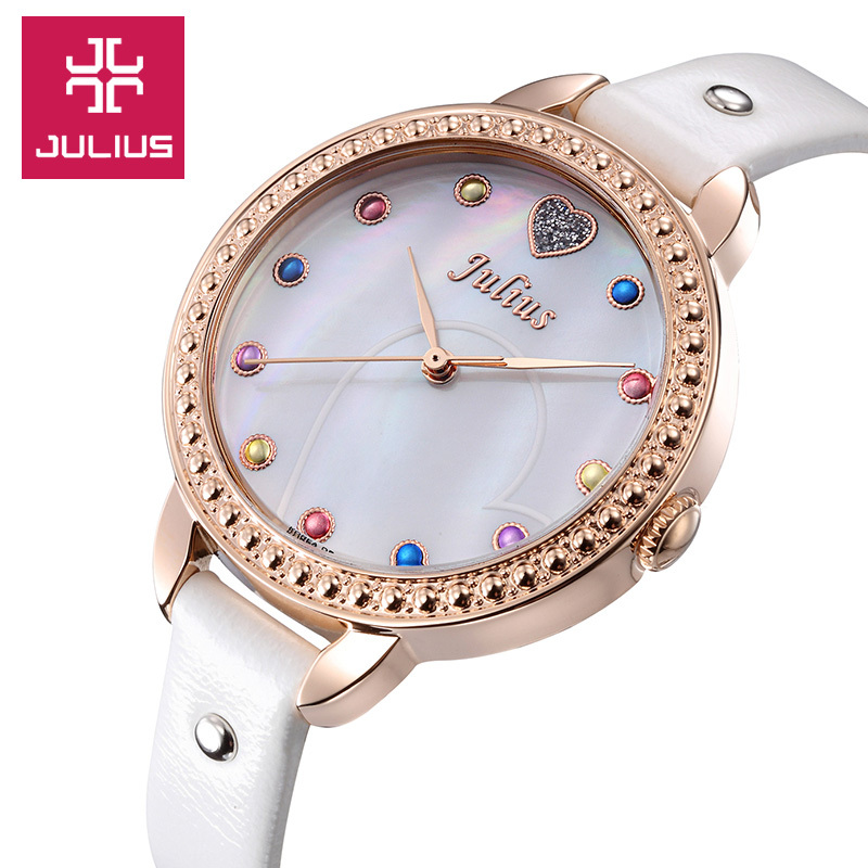 Julius Lady Women s Watch Japan Quartz Girl s Hours Fine Fashion Mother of Pearl Dress